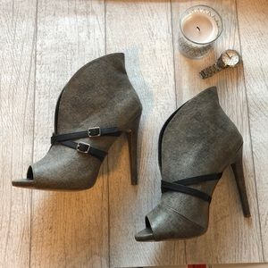 JustFab Gray Peep Toe Booties